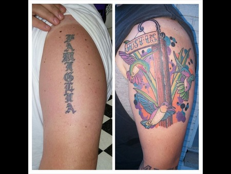American Traditional Newschool Abstract Coverup Before And After Arm