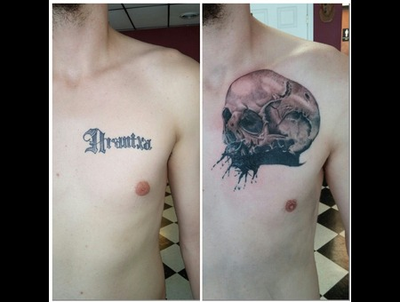 Skull Photo Realism Ink Splatter Coverup Before And After Chest
