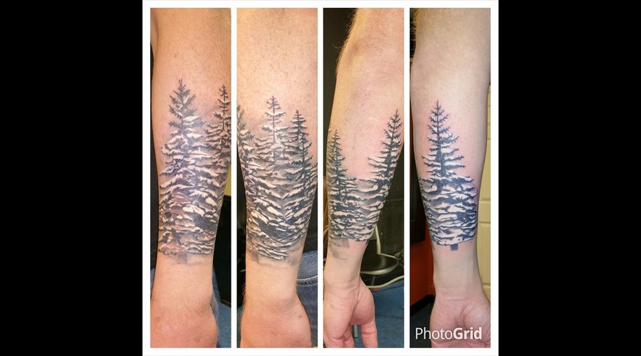 Pine Trees Forest Snow Foggy Wrap Around Forearm