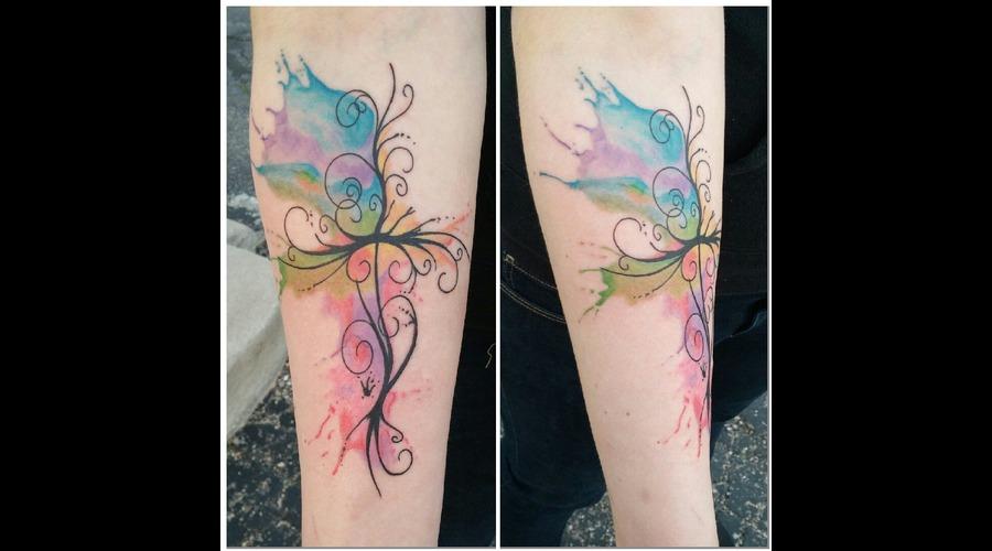 Freehand Cross Watercolor Ink Splatter Burst Forearm