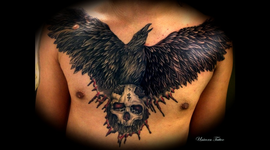Crow Tattoo  Chest Piece  Realistic  Trash  Skull  Blackngray Chest