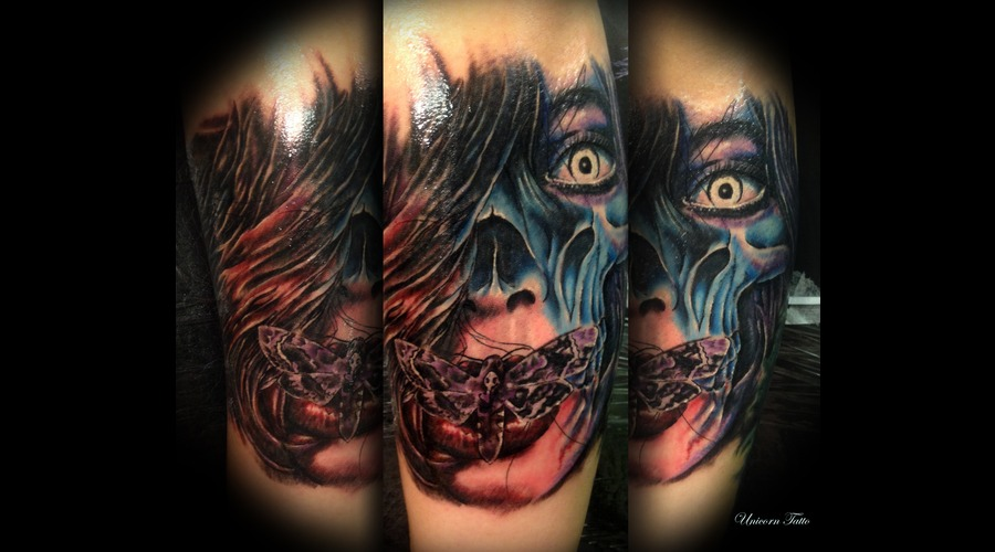 Portrait  Color Tattoo  Horror Tattoo  Deathmoth  Woman Face  Vampire Forearm