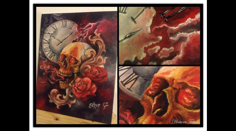 Oil Painting  Skull  Roses  Clock  Time Is Running  Death