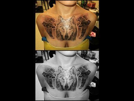 Wolf Chest Piece W/ 2 Ravens Black White