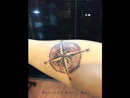 Custom Design  Rose Compass  Revival Body Art Forearm