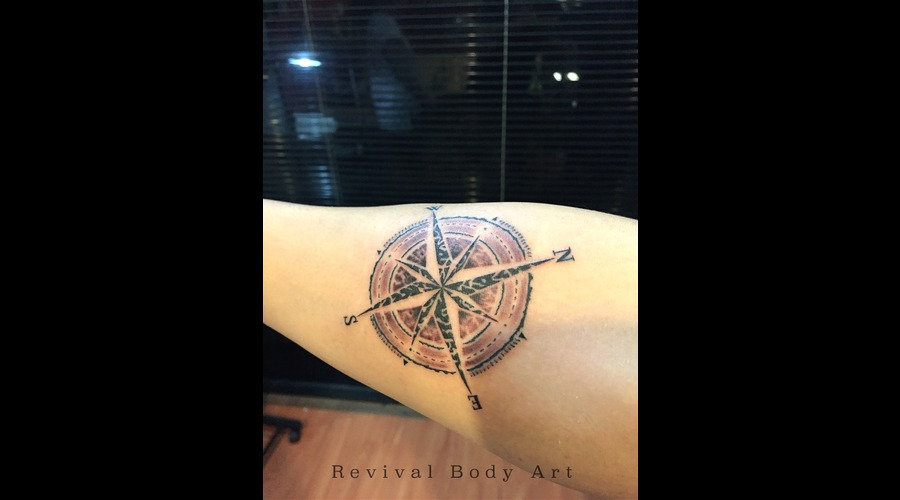 Custom Design  Rose Compass  Revival Body Art Forearm
