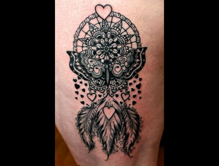 Dreamcatcher Butterfly Henna Mandala Feathers Hearts Cute Girlswithtattoos Thigh