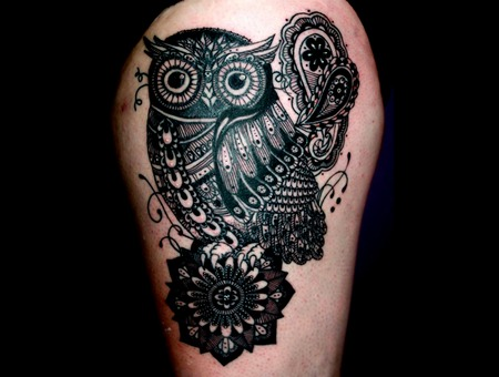 Owl Mandala Linework Black Flourishes Paisley Detailed Thigh