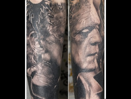 Portrait Horror Frankenstein Realistic Black&Gray Arm