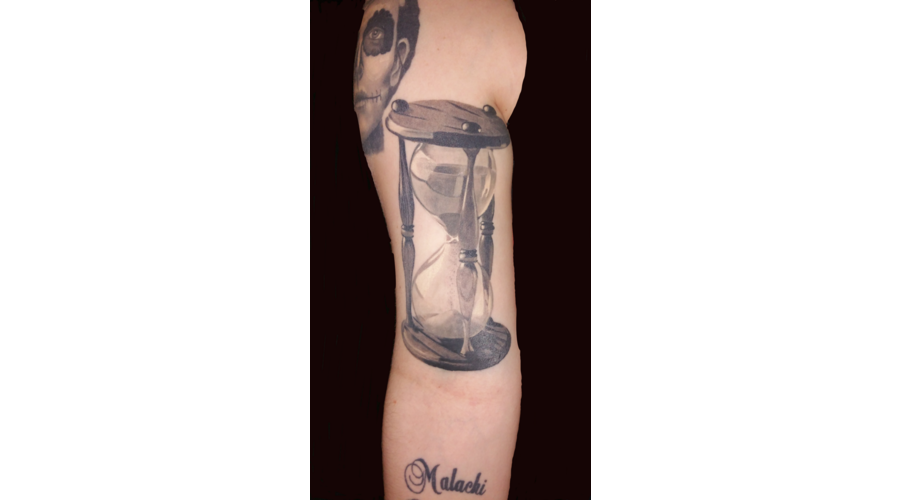 Photo Realism Greywash Hourglass Timepiece Time Arm