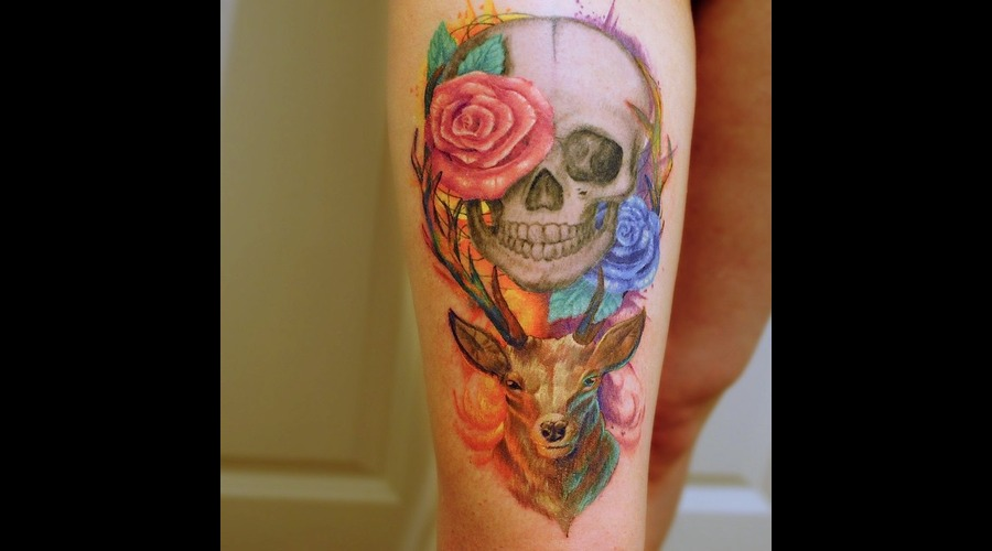 Watercolour  Watercolor  Modern  Art  Skull  Stag  Deer  Roses  Lights Thigh