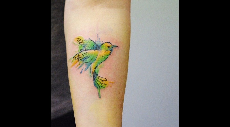 Watercolour  Watercolor  Splash  Modern  Art  Bird  Hummingbird  Cute Forearm