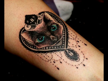 Cat Girly Black Heart Mandala Ornate Feline Lower Leg
