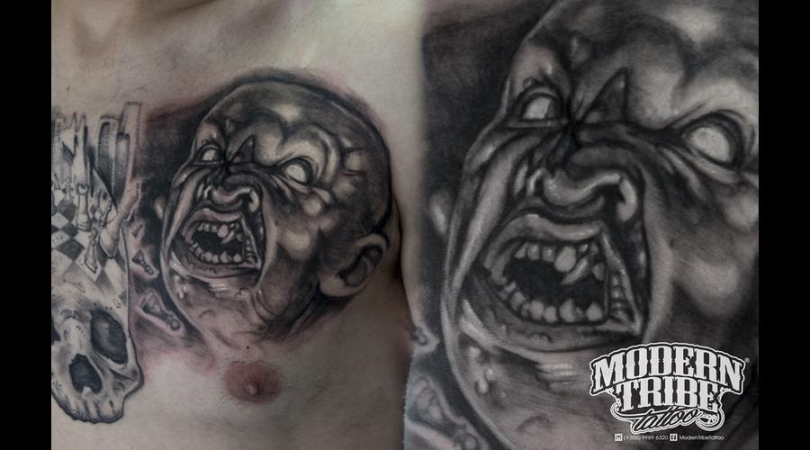 Chest  Demon Tattoo Chest
