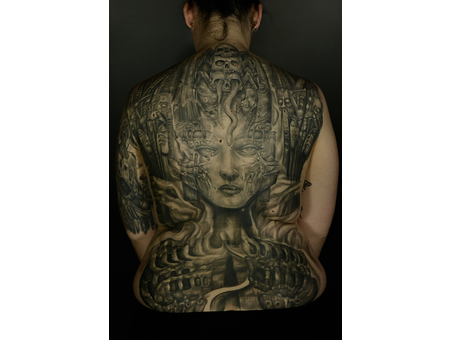 Biomechanical Surrealism Abstract Black Grey Back
