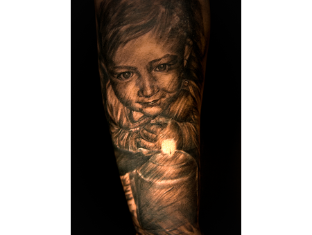 Portrait Realism Baby Candle Black Grey Forearm