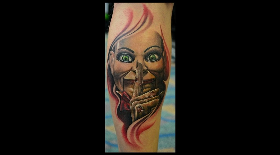 Dead Silence New School Tattoo  Color Tattoos  Horror Movie Tattoos Lower Leg