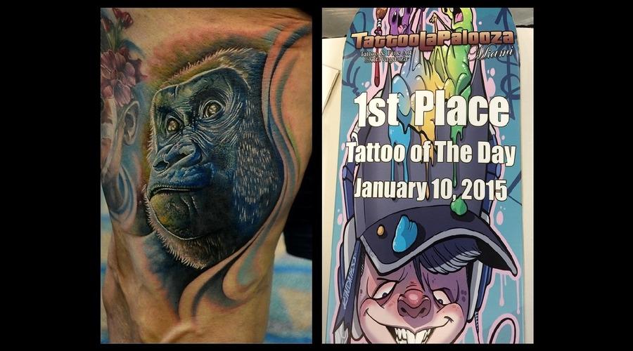 Gorilla Tattoo  Tattoo Of The Day  Photorealism Tattoo  Animal Tattoos Thigh