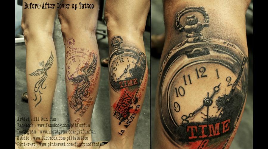 Cover Up Tattoo   Trash Polka  Lower Leg
