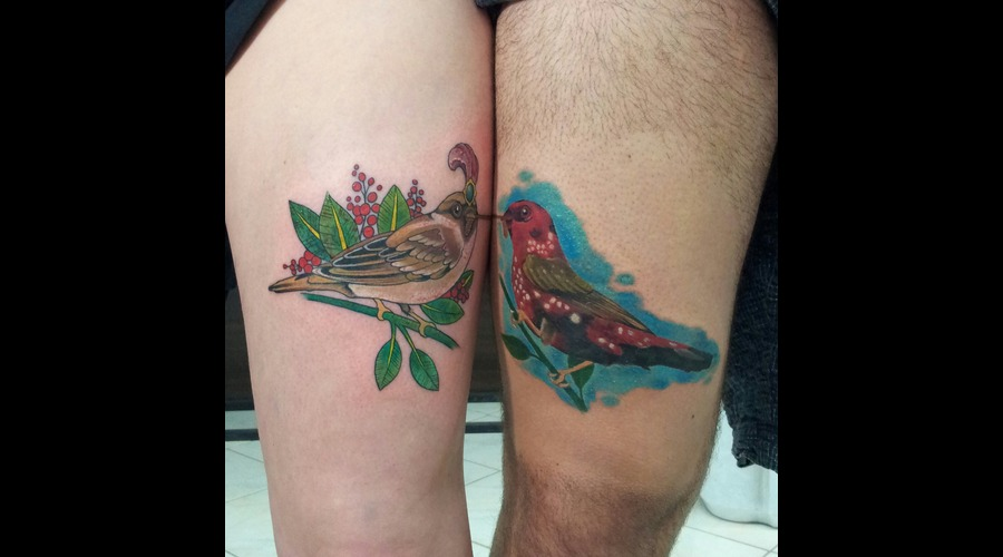 Birds.Love.Newschoo.Neotraditional. Thigh