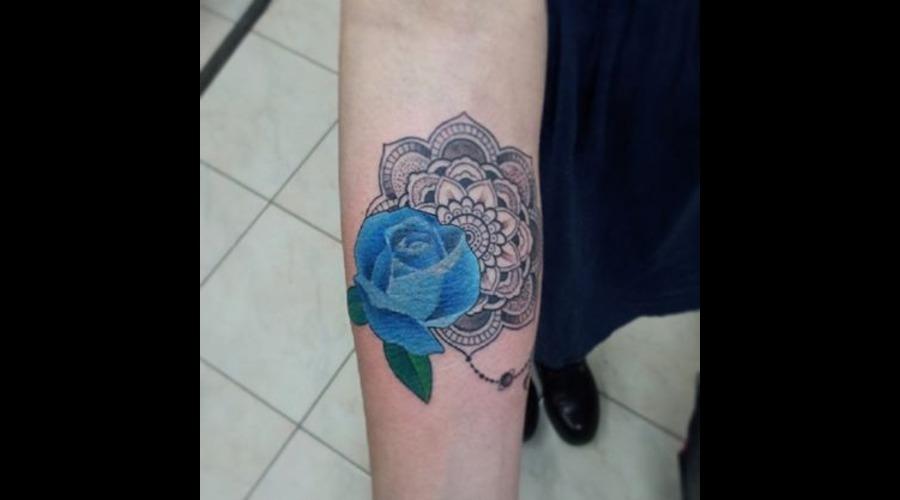 Mandala.Rose.Flower Forearm