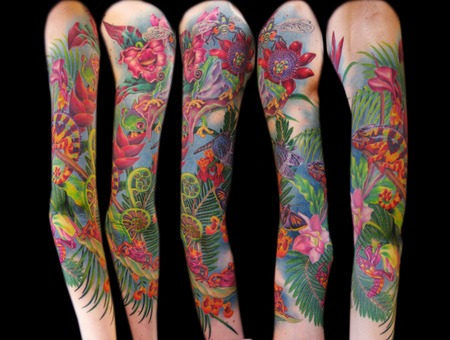 Missnico  Nico  Tattoo  Allstyle  Realism  Jungle  Nature  Frog  Flower Arm