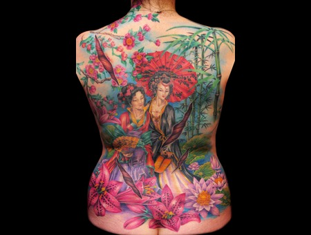 Missnico  Nico  Tattoo  Allstyle  Asian  Geisha  Lotus  Backpiece Back