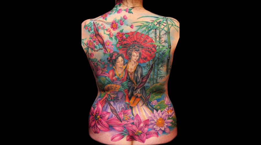 Missnico  Nico  Tattoo  Allstyle  Asian  Geisha  Lotus  Backpiece Back