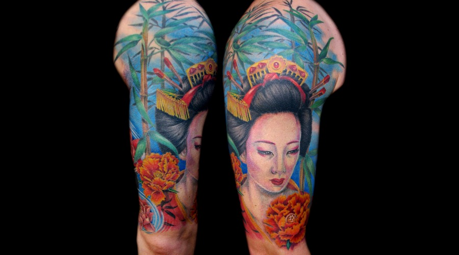 Missnico  Nico  Tattoo  Allstyle  Asian  Geisha  Colortattoo Arm