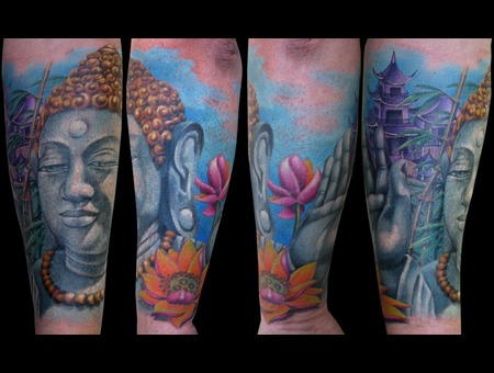 Missnico  Nico  Tattoo  Allstyle  Asian  Buddha  Pagode Arm