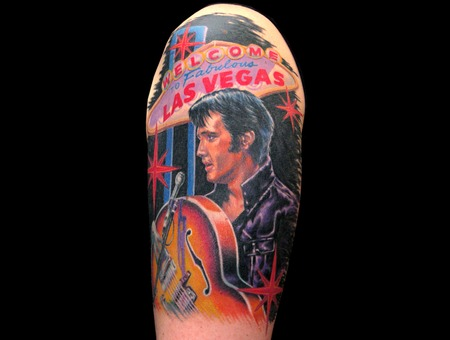 Missnico  Nico  Tattoo  Allstyle  Elvis  Vegas  Portrait  Guitar Arm
