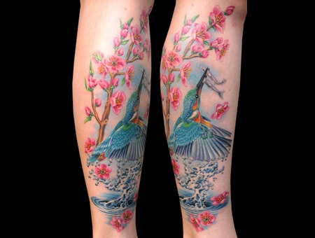Missnico  Nico  Tattoo  Allstyle  Eisvogel  Kingfisher  Cherryblossom Lower Leg