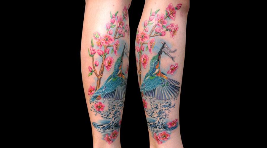 Missnico  Nico  Tattoo  Allstyle  Eisvogel  Kingfisher  Cherryblossom Lower Leg