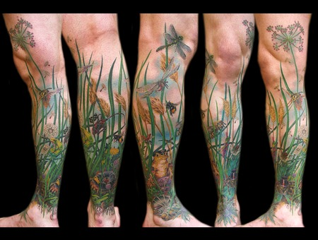 Missnico  Nico  Tattoo  Allstyle Wiese  Frog  Insects  Gras  Meadow  Nature Lower Leg