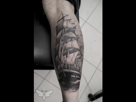 Sailing Ship Tattoo Lower Leg