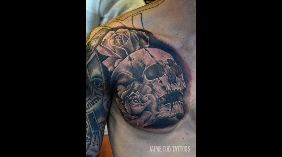 Skull  Cover Up  Rose  Realism  Realistic Chest