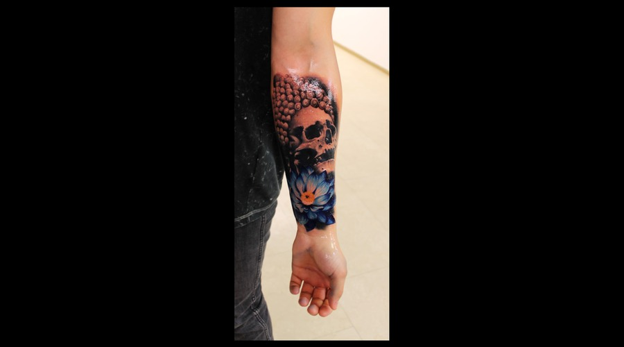Skull  Flower  Budha Arm