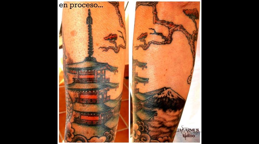 Pagoda Templo Arbol Fuji Monte Japones Forearm