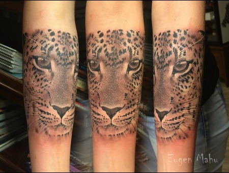 Portrait  Realistic  Realism  Art  Tattoo  Panther Forearm