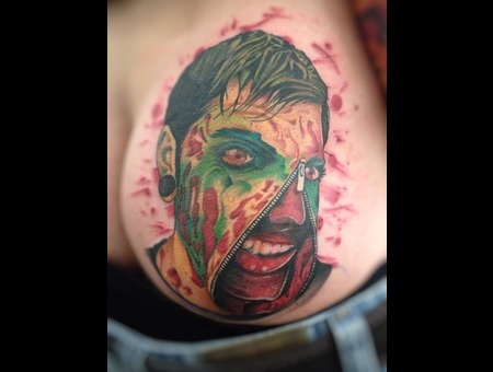 Portrait  Zombie  Zipper Face  Blood  Horror  Ass   Color