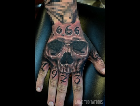 Hand Tattoo  Realistic Skull Arm