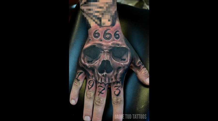 Hand Tattoo  Realistic Skull Arm