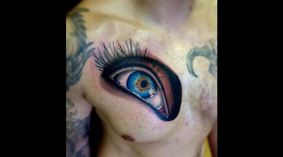 Realistic Blue Eye Chest