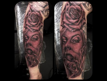 Realism Rose Skull Portrait Morph Forearm