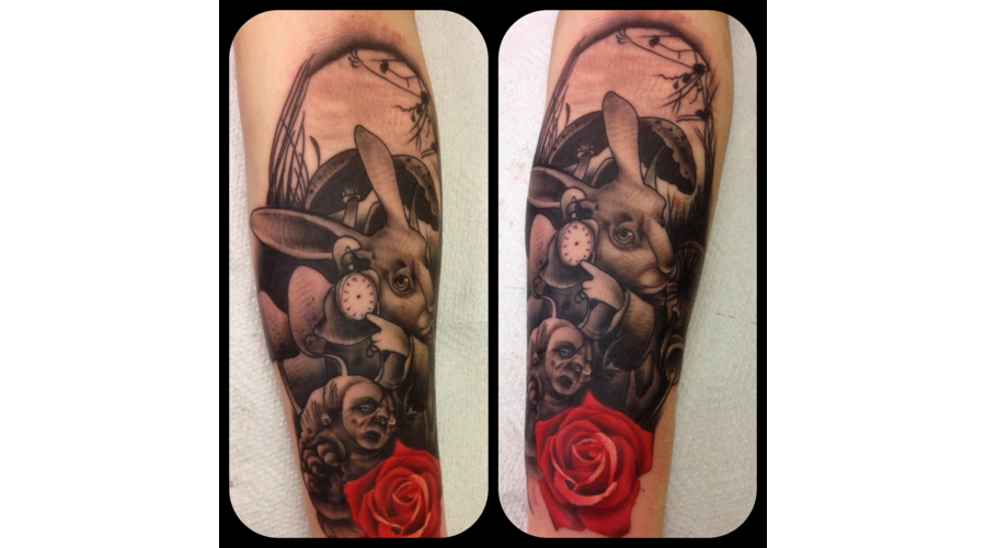 Realism Alice Aliceinwonderland Iconic Portrait Rose Color Forearm