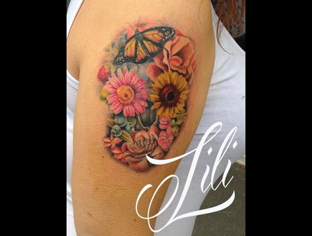 Color  Realism  Skull  Flowers  Fruit  Butterfly  Feminine Arm
