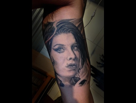 Amy Whine House  Tattoo  Black  Portrait  Hawaii Arm