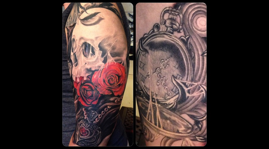 Skull  Tattoo  Hawaii  Timepiece  Spider  Roses  Black Arm