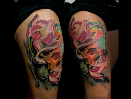 Skull  Skulls  Lotus  Flower  Color  Amazing  Tattoo  Hawaii Thigh