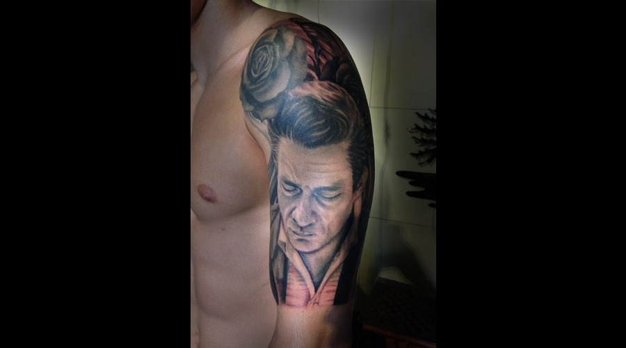 Jonny Cash  Tattoo  Black  Portrait  Hawaii Arm